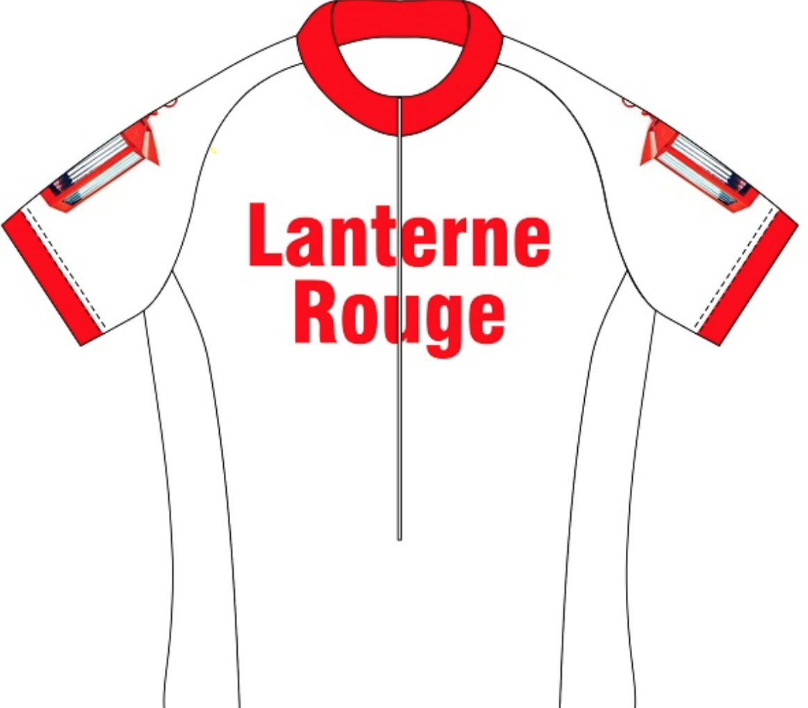 A lanterne rouge (last rider) jersey. I should get a supply of these...