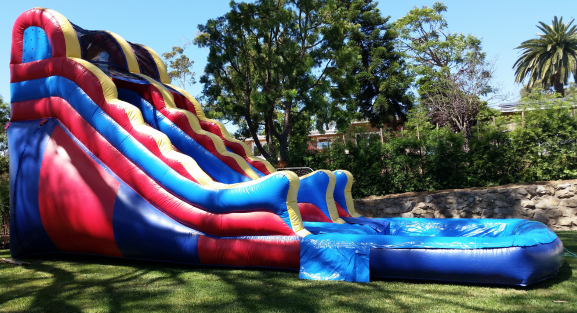 16'x30' (4.8x9.1 meter) inflatable waterslide/pool. Now that's what I'm talking about.