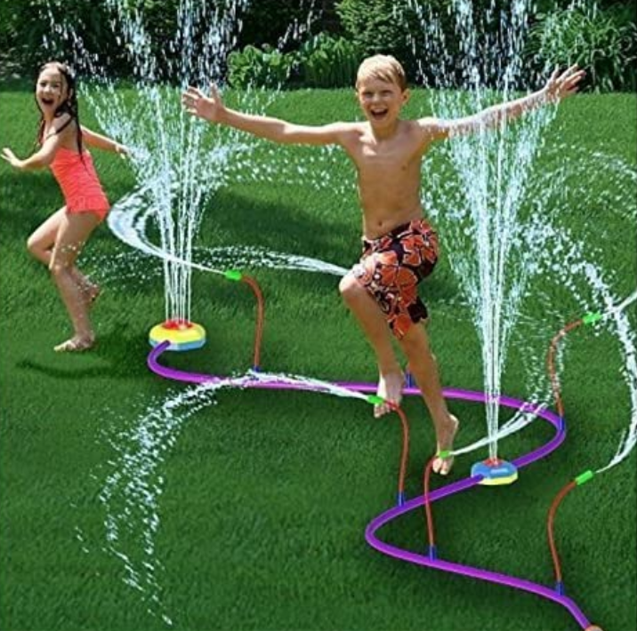 Backyard sprinkler with both 1) kids totally photoshopped into it; and 2) the water spritzing photoshopped, too, as loads of reviewers said it hardly worked at all.