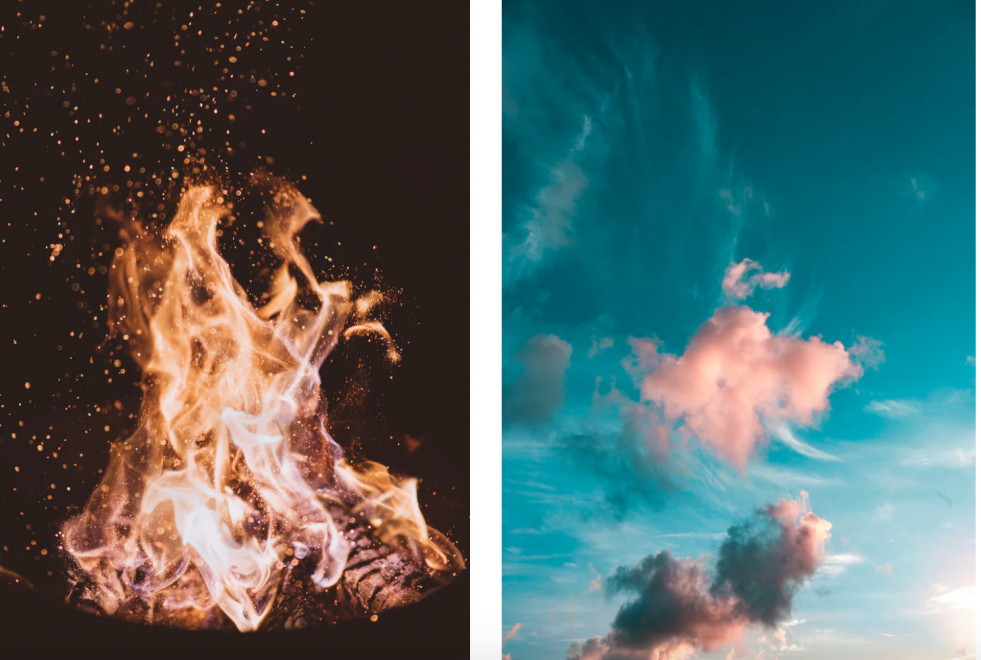 Fire and air, photos by unsplash.