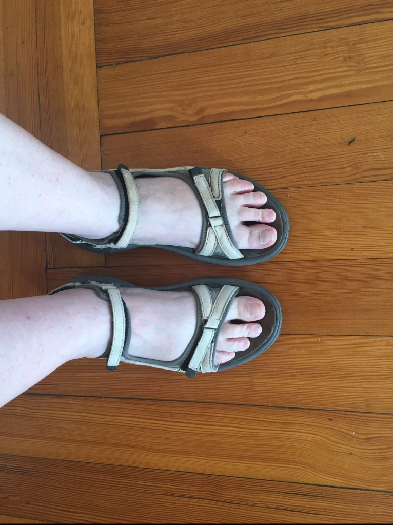My white Tevas. I have these in brown and black, too. And I have a red fancier pair.