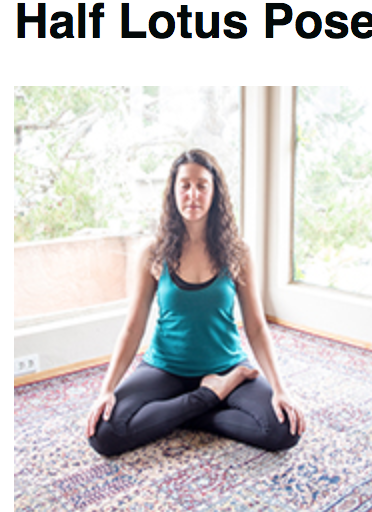 Half lotus-- seated, legs crossed and one foot on thigh.