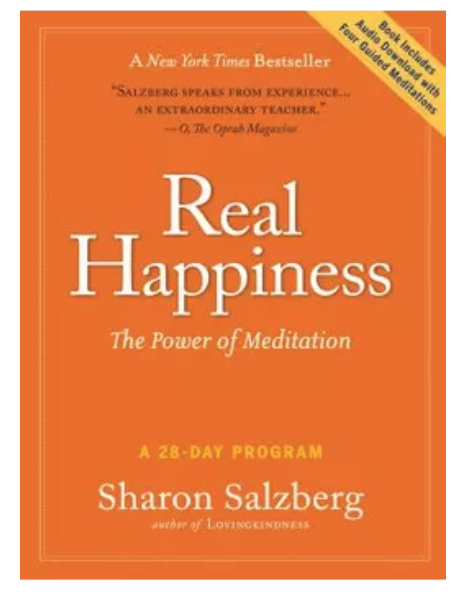 The book cover of Real Happiness, by Sharon Salzberg.