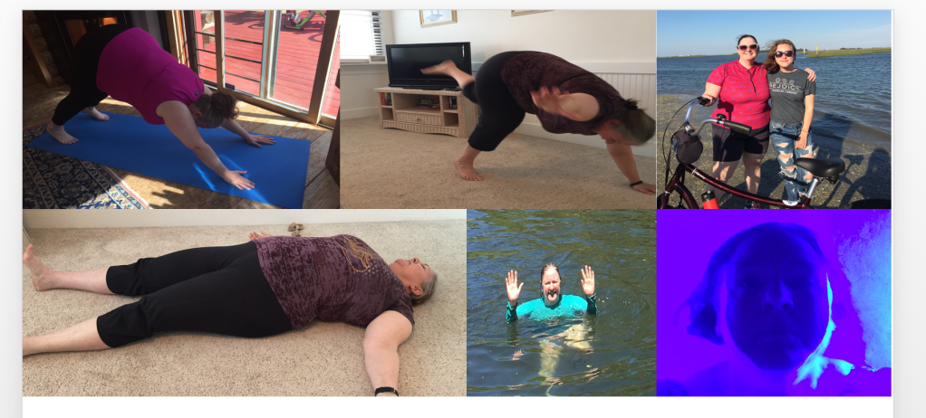 Clockwise, from top left: hanging on, barely hanging on, loving, done, Look ma, no hands!, and immersion.