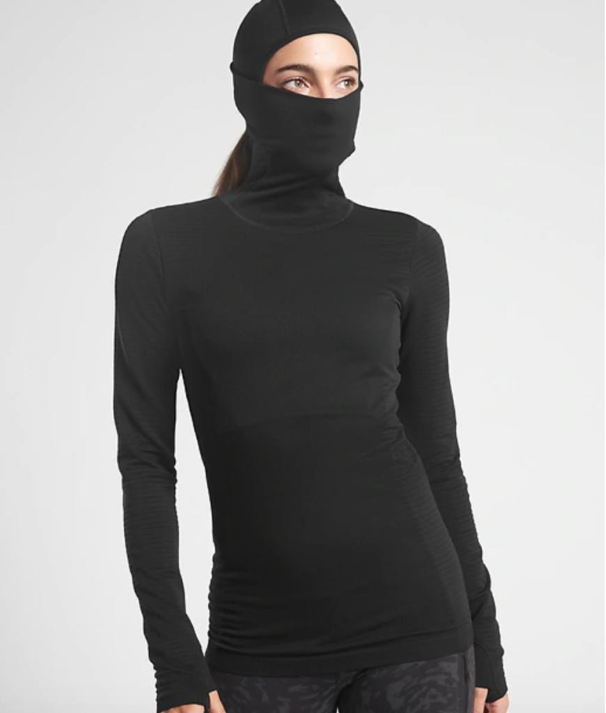 Ninja-inspired balaclava-turtleneck in classic black.