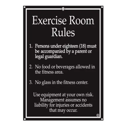 Exercise rules sign.