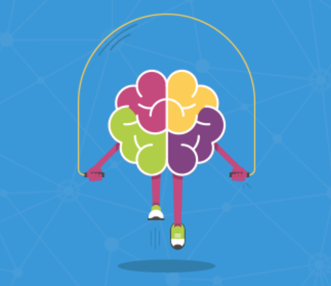 A colorful picture of a brain skipping rope against a blue background.