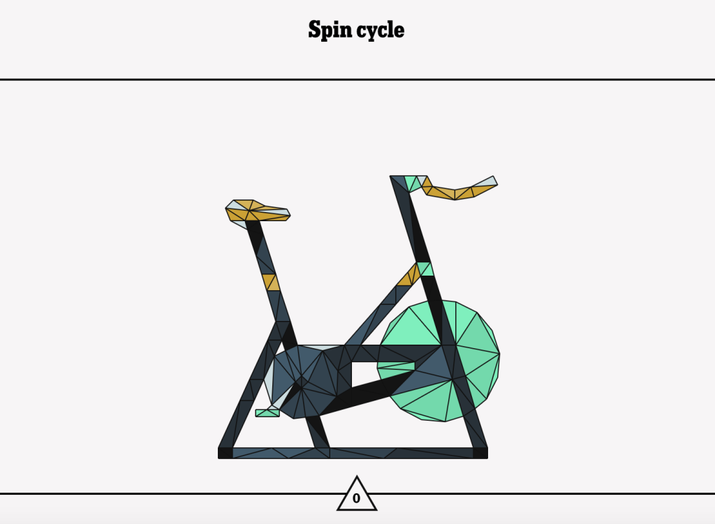 Ta da! A colorfully rendered spin bike. I wouldn't mind some lime green flat pedals, if I could find some.