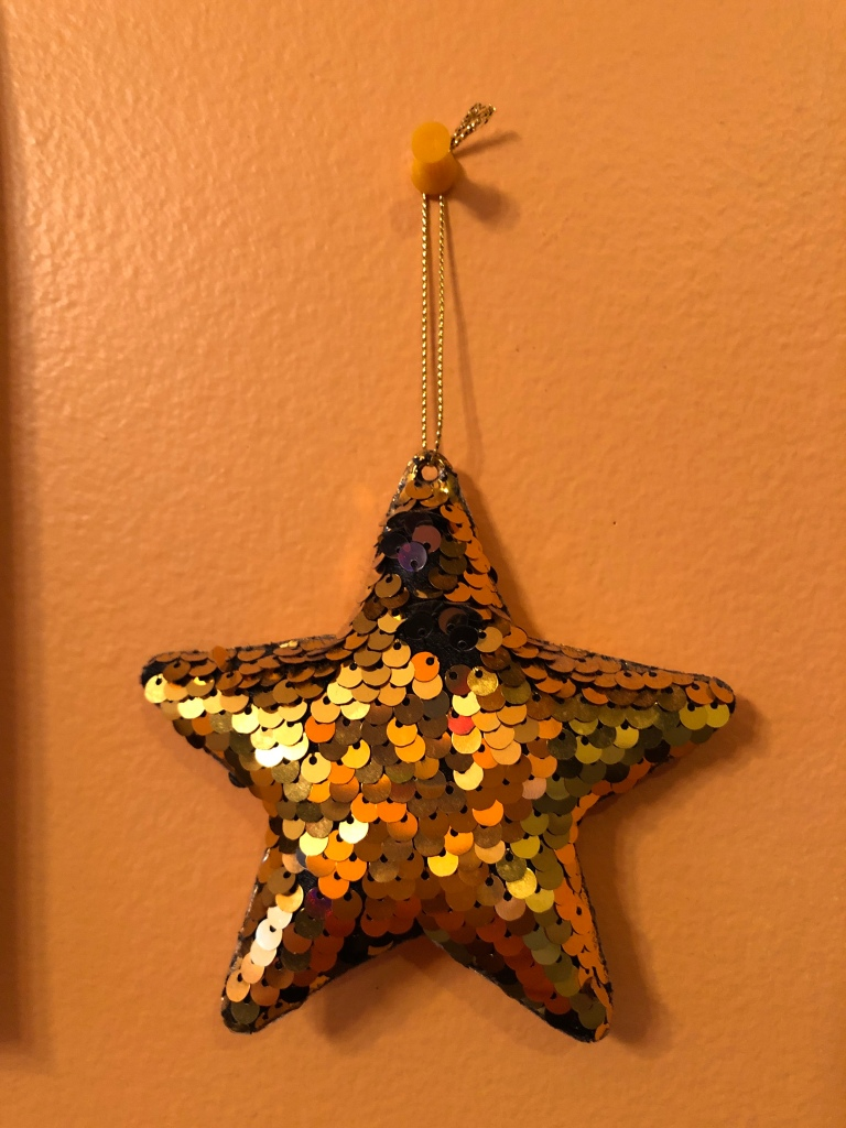 A sequinned gold star   hangs from a pushpin on an orange wall.