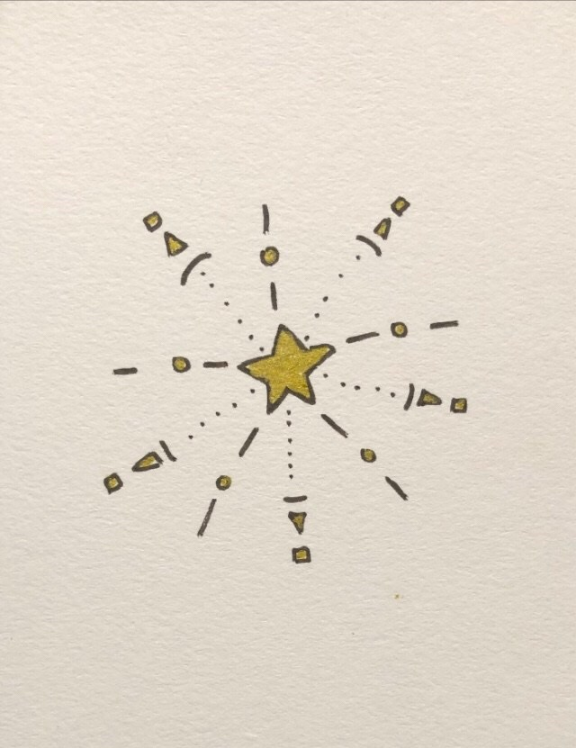 Image description: a drawing of a gold star with lines of other small shapes radiating outward from each point.