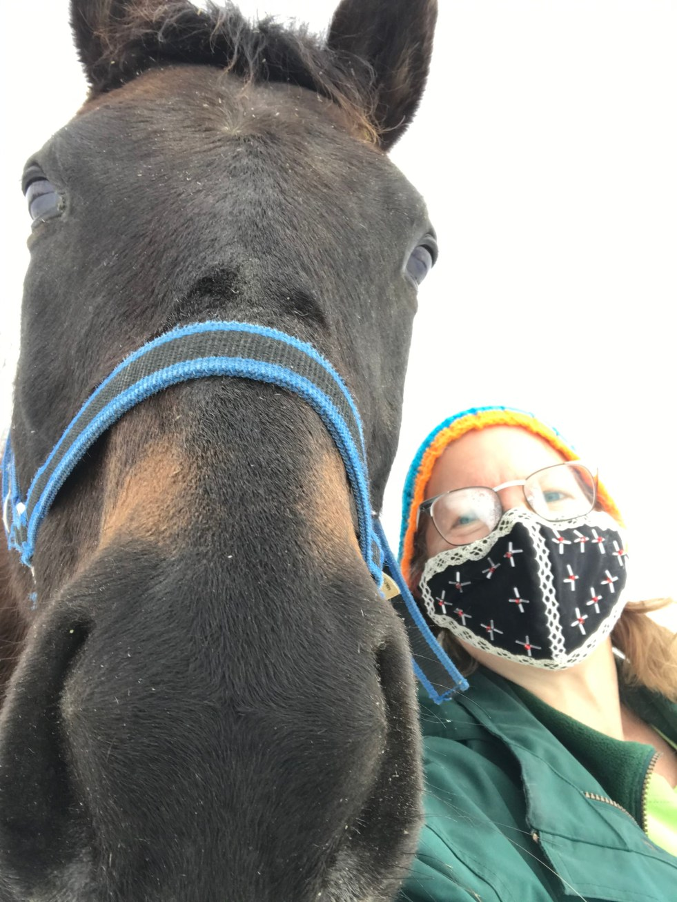Selfie of a woman in a black mask, with an extreme close-up of a brown horse's head