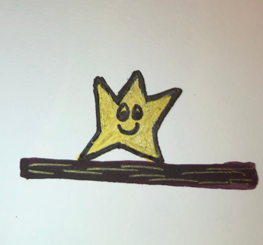 Image description: a hand-drawn gold star with eyes and a smiling mouth stands on a thick black line that has some gold lines overlaid on it. The star's upper right and left points are slightly raised.