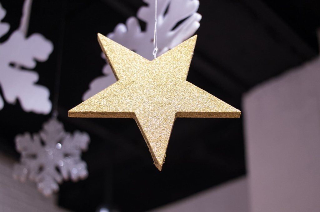 A gold star ornament hangs amid  several white snowflake ornaments.