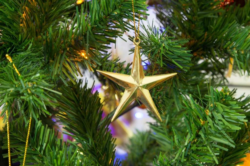 A gold star ornament hangs in the foreground, there are  decorated tree branches with lights and small visible pieces of other ornaments in the background.