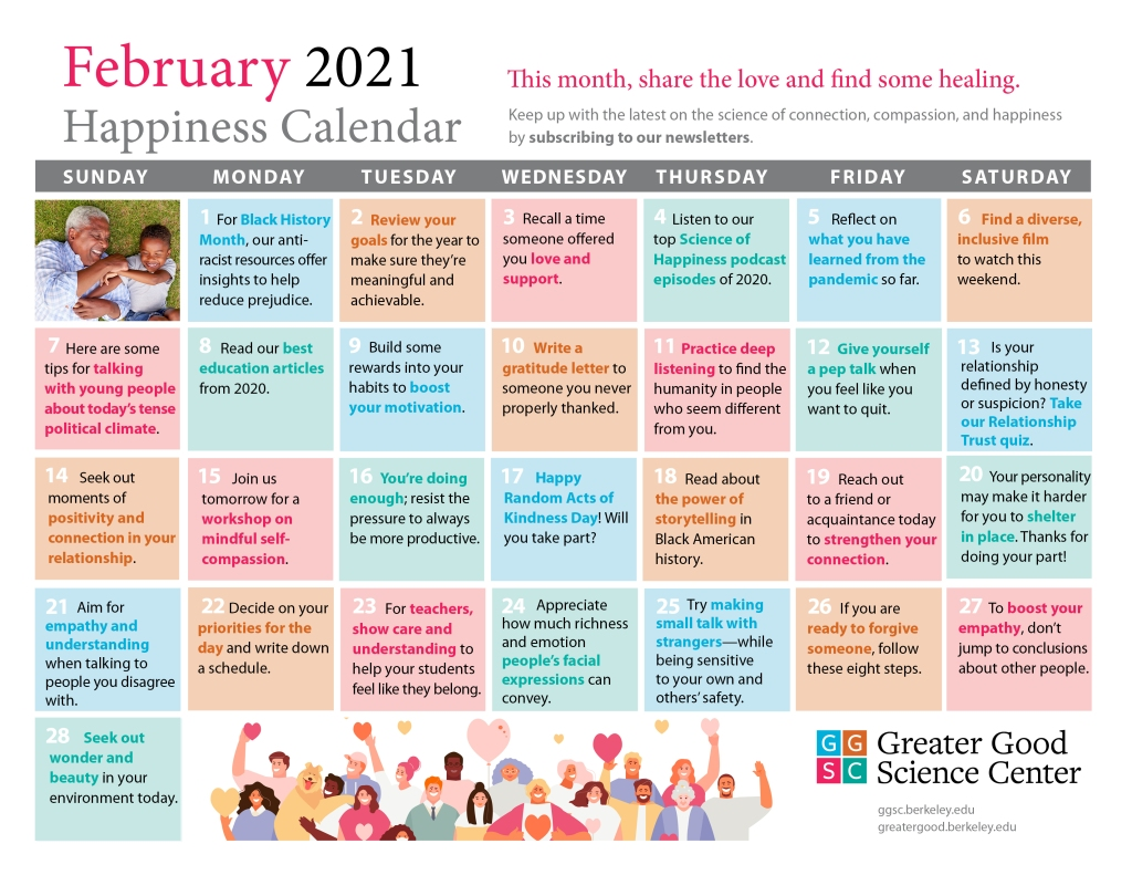 A multi-coloured calendar from the Greater Good Science Center listing different tasks that can help improve happiness levels.