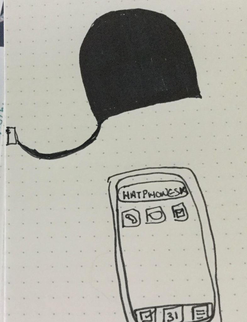A drawing of black hat with a wire attached that extends to a plug and a drawing of a phone screen with a few icons and the word 'hatphones' displayed next to bluetooth symbol.