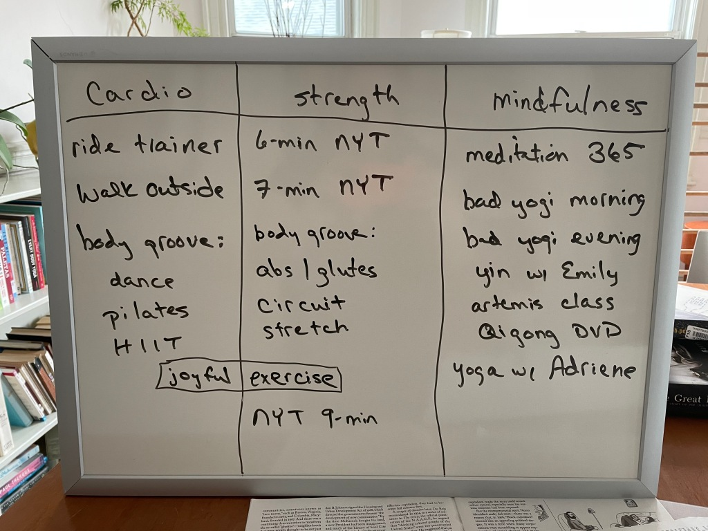My workout menu whiteboard, which usually lives in my bedroom, propped up on my chest of drawers.