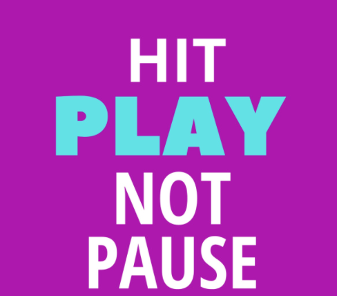 Hit play, not pause, against a purple background.
