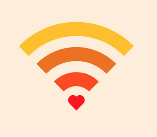 A colored wifi symbol with a heart at the bottom.