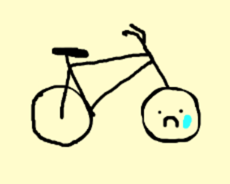 Hand drawing of bike; front wheel is a sad face.