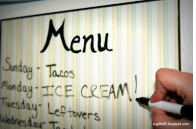 White board menus for workout and eating plans