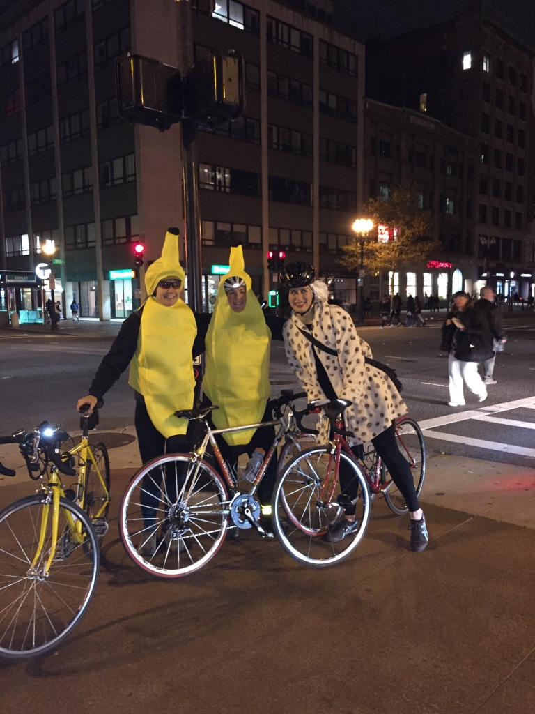 Rachel, me and Steph at Halloween bike ride-- two bananas and Cruella de Vil.