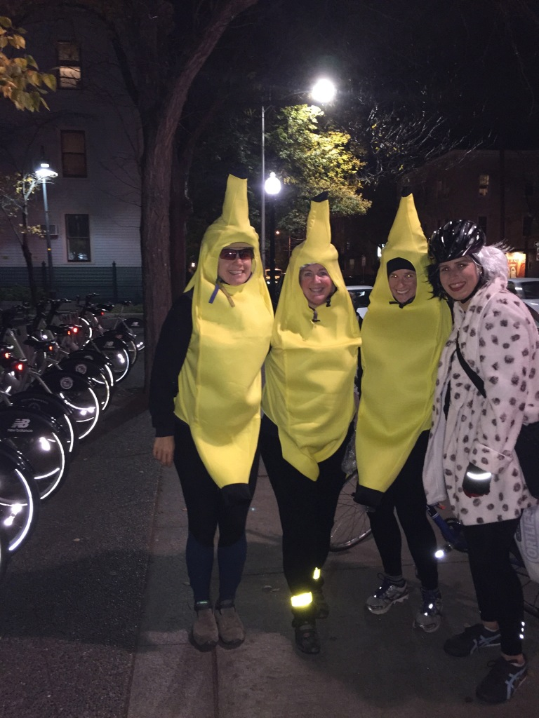 Janet, second from right, joined us as the third banana in our bunch of Halloween bike riders.