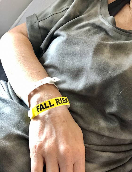 "Me and my ""fall risk"" bracelet."