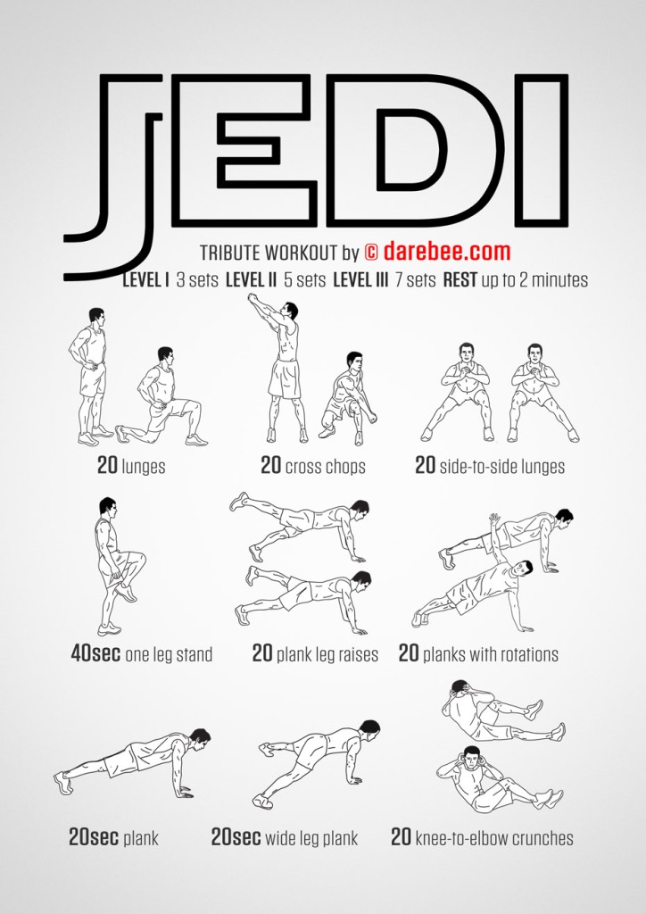 A poster featuring a black and white drawing of a person doing a series of exercises. The text at the top reads 'Jedi Tribute Workout by Darebee.com'