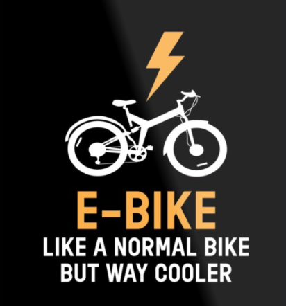 """Message saying """"e-bike like a normal bike but way cooler"""" with white graphic of bike and lightning bolt, against a black background."""