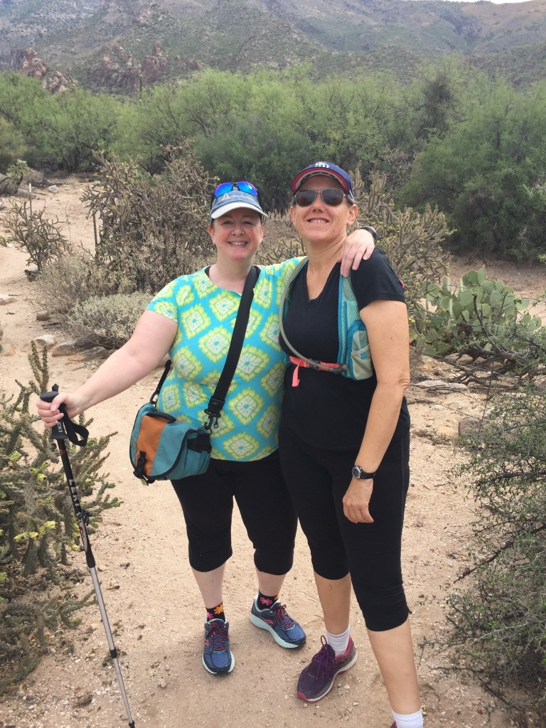 Slow hiking happiness with Kay in Ventana Canyon in Arizona.