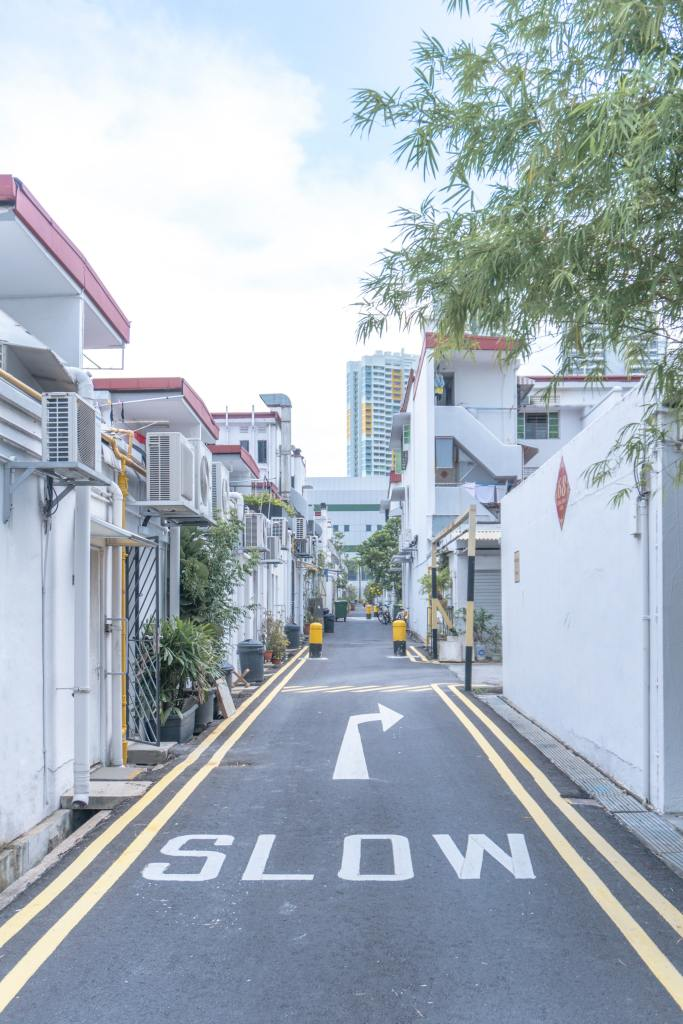A white slow sign in a whitewashed neighborhood. Photo by Rayson Tan on Unsplash