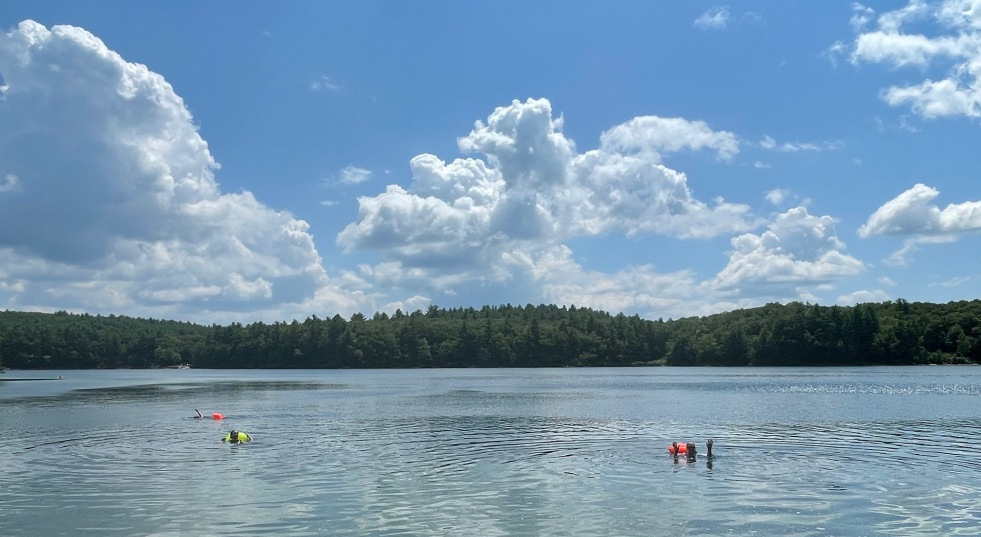 Is there anything lovelier than this? Blue sky, puffy clouds, clean fresh water, and day-glow swim buoy following you around while you swim?