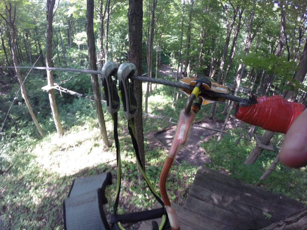 Self-belay system with carabiners and zipline attachment