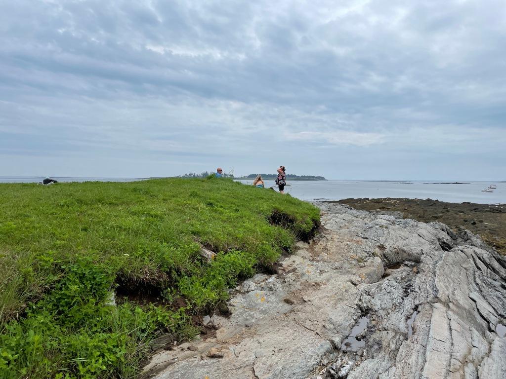 Rocks, grass, sea, sky-- not much more.