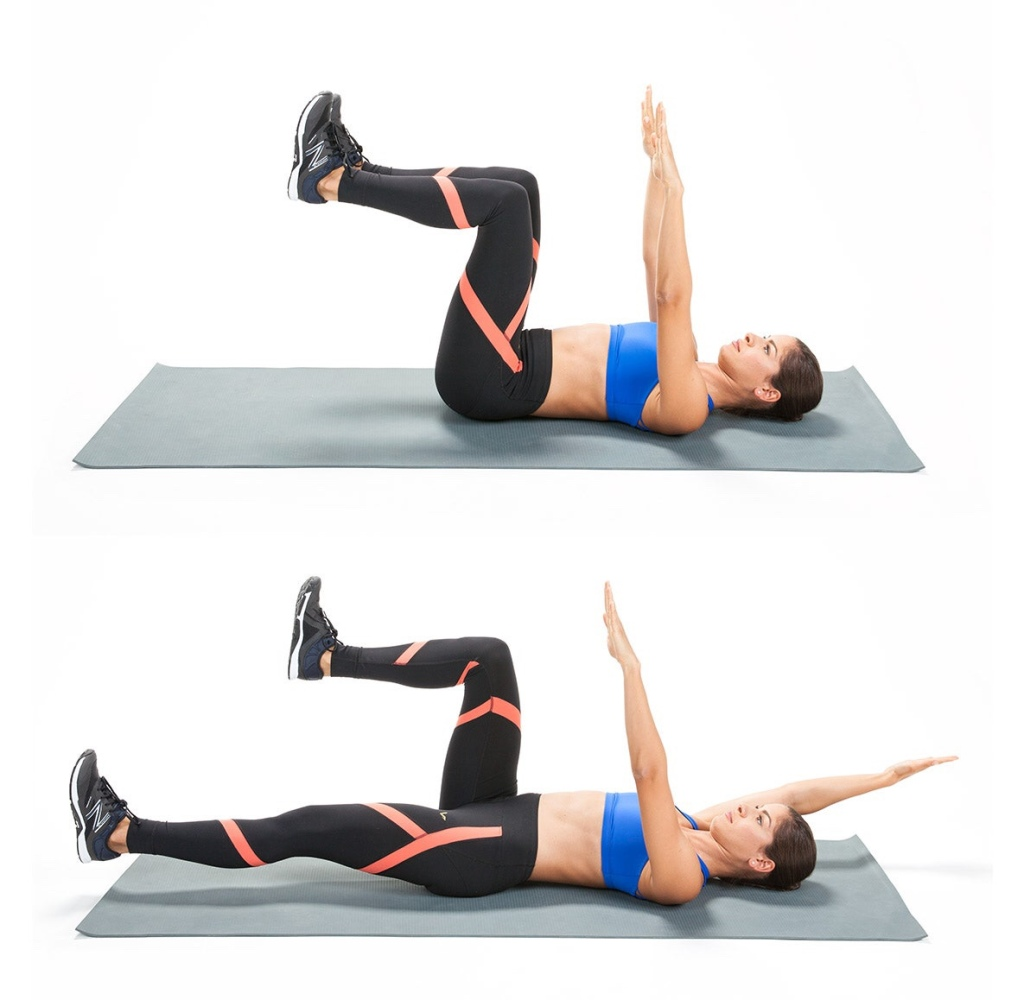 Two photos of person in exercise clothes lying on a mat and demonstrating different stages of the 'dead bug' exercise.
