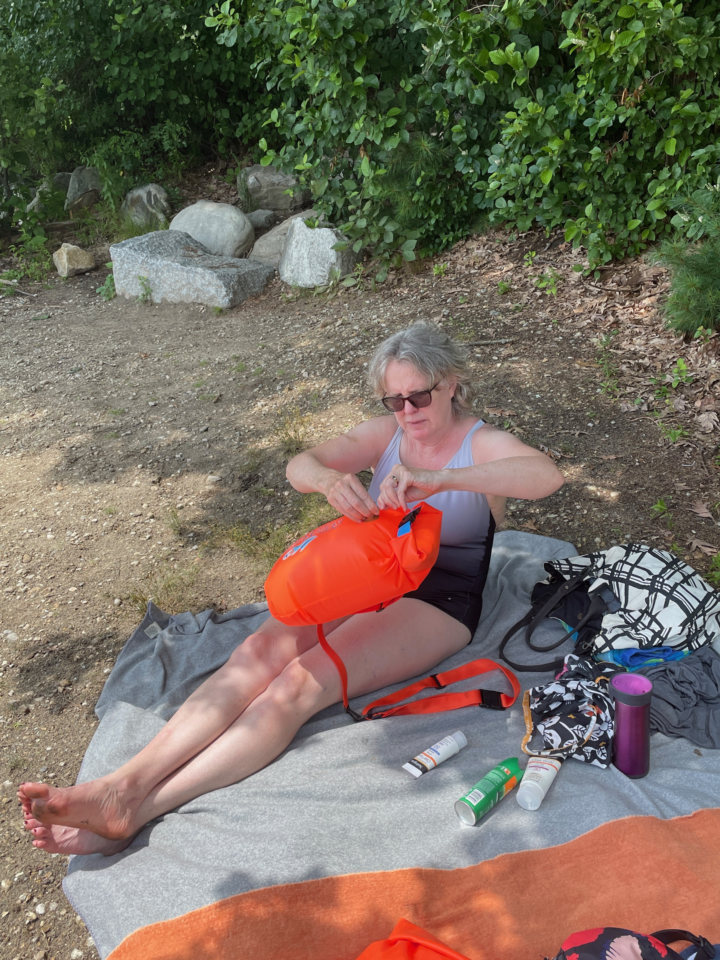 Norah, sealing up her swim buoy (an early birthday present from me).