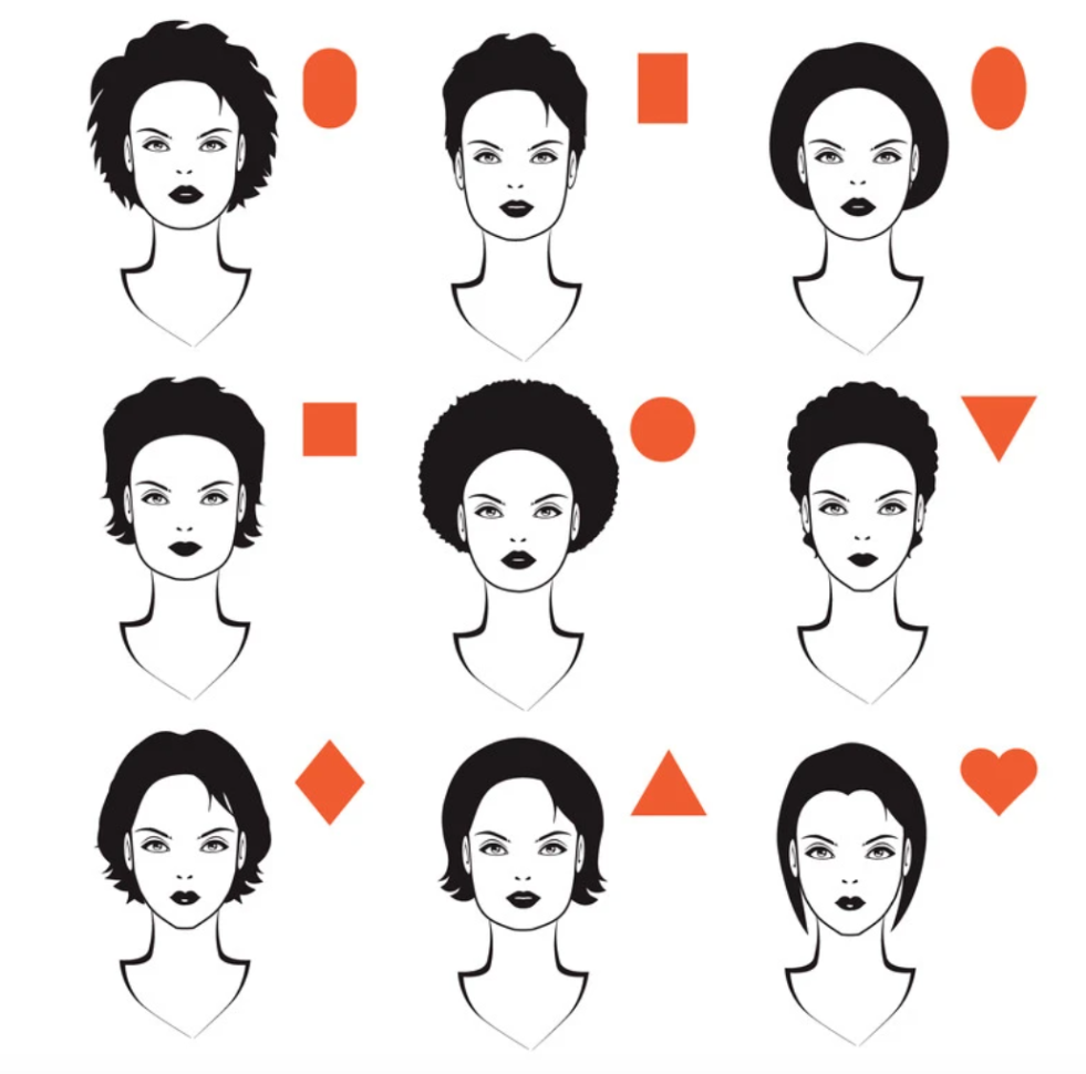 Picture of 9 different face shapes and hairstyles to go with them.