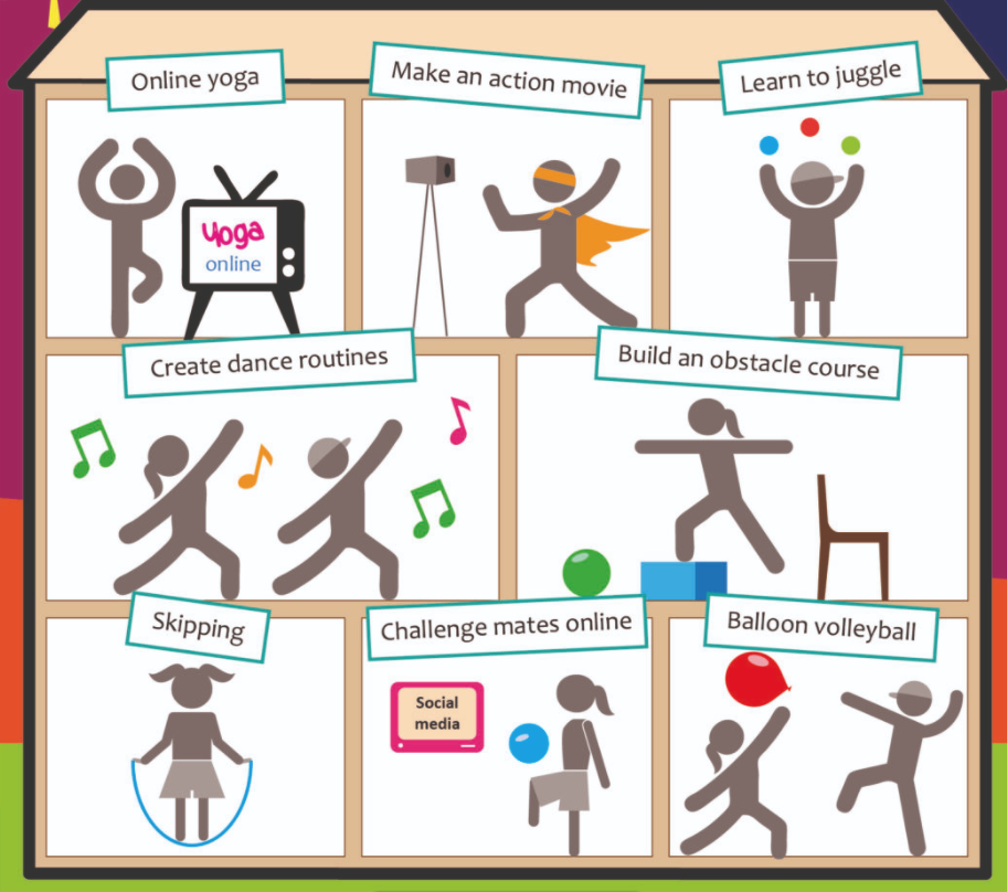 A list of school physical activities like online yoga, skipping and obstacle courses.
